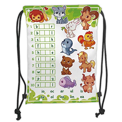 New Fashion Gym Drawstring Backpacks Bags,Word Search Puzzle,Rebus Game with Animals for Preschool Kids Find Correct Part of Words Decorative,Multicolor Soft Satin,Adjustable Stri -