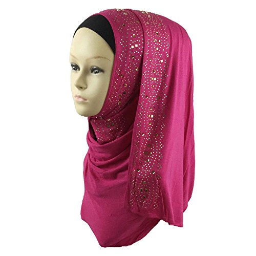 Cotton Jersey Hijab Scarf Wrap Glittering Rhinestones Scarf for Women Solid Color Scarf (Fuchsia Color Rhinestone)