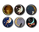 Beautiful Moon Art Magnets - Refrigerator Magnets - Set of 6 Magnets - 1.5 Inch Magnets - Artsy Kitchen Decor