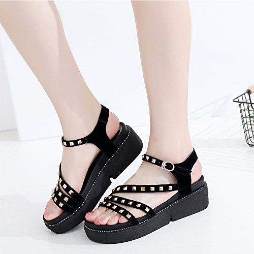 da casual moda EU Sandali con aperte scarpe 33 con zeppa 36 estivi EU borchie YMFIE spiaggia qTXvnwaxa