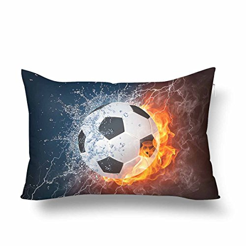 InterestPrint Soccer Ball in Fire and Water Soccer Game Pillow Cases Pillowcase 16x24, Rectangle Pillow Covers Protector for Home Couch Sofa Bedroom Decoration by InterestPrint