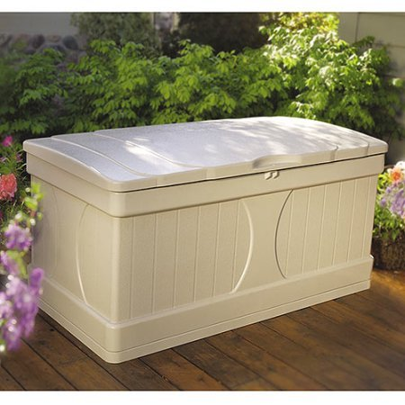 99 Gallon Light Taupe Resin Deck Box, Long-Lasting Resin Construction, Stay-Dry Design, the Deck Box in Cream has a Lockable Lid, Easy, Quick Assembly, No Tools Required, Plastic by Suncast
