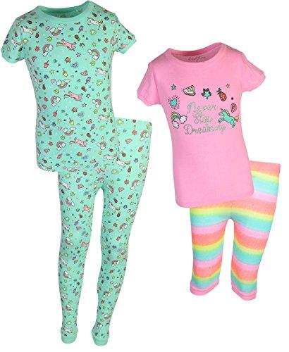 Freestyle Girl's 4-Piece Snug Fit Spring Pajama Set (2 Full Sets) Unicorn, Size 12' ()
