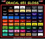 Oracal 651 All 63 Colors Adhesive Vinyl 12'' x 5ft for circuit silhouette crafting (63 (All colors))