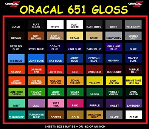Oracal 651 All 63 Colors Adhesive Vinyl 12'' x 5ft for circuit silhouette crafting (63 (All colors)) by Oracal
