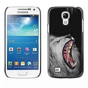 TopCaseStore / la caja del caucho duro de la cubierta de protección de la piel - Lion Fire Abstract Black White King Africa Fur - Samsung Galaxy S4 Mini i9190 MINI VERSION!