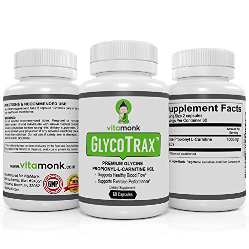 GlycoTrax™ High Absorption GPLC by VitaMonk (No Artificial Fillers) The Most Effective GPLC Glycine Propionyl L Carnitine Supplement 1000mg per 2 capsules To Support Healthy Blood Circulation
