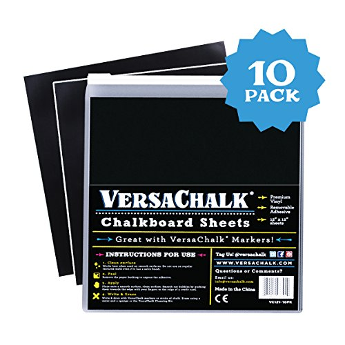 VersaChalk Vinyl Self Adhesive Chalkboard Sheets 12 x 12-inch Pack of 10 - Vinyl Chalkboard for Cricut, Xyron, Pazzles, Silhouette, Robo Craft, Decals, Printers, Stickers, Banners, Signs.