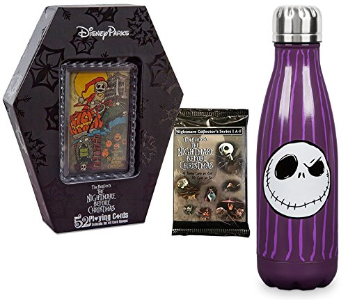 AYB Products Nightmare Jack Before Christmas Collection 52 Playing Cards Coffin Deck Park Authentic & The Pumpkin King Skellington Water Bottle Drinking + Trading Cards Pack collectible ()