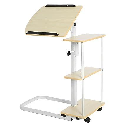 Side Table Adjustable Computer Rolling Desk Bed Workstation Countertop Bookshelf Cart Coffee