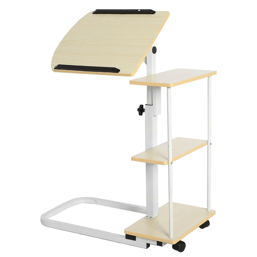 Sofa Bedside Table - Adjustable Height and Tilt Space Saving Overbed Table Laptop Cart with wheels Standing Desk Home Office Computer Workstation