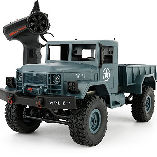 YIKESHU B-14 Remote Control Off-Road Racing Vehicles Four - wheel climbing Military Truck High Speed Buggy Metal Shell with LED Light (Blue) (Military Four)