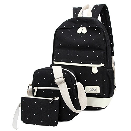 Viniolve Canvas Dot Backpack Cute Lightweight Bookbag School Shoulder Bags for Teen