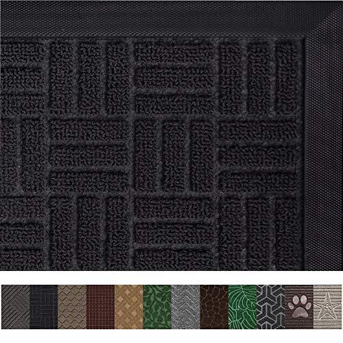 Gorilla Grip Original Durable Rubber Door Mat (29 x 17) Heavy Duty Doormat, Indoor Outdoor, Waterproof, Easy Clean, Low-Profile Mats for Entry, Garage, Patio, High Traffic Areas (Black ()