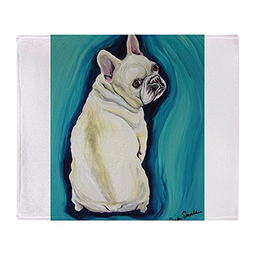 CafePress White French Bulldog Soft Fleece Throw Blanket, 50
