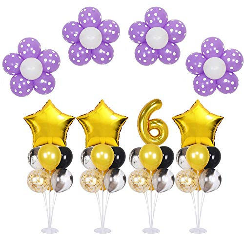 4 Pack of Clear Balloon Stand Kit with 7 Sticks 7 Cups and 1 Base Table Desktop Holder for Birthday Party Baby Shower Wedding Halloween Christmas Decoration -