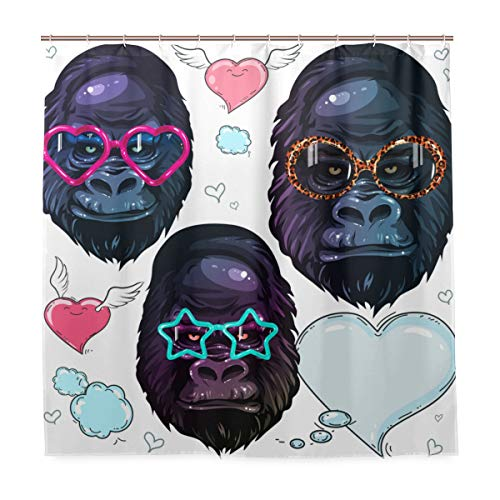 VAMIX Decoration Shower Curtain Shower Vector Set Portrait Monkey Gorilla Fashion Bath Curtains Waterproof Fabric Bathroom Decor Set with Hooks 60X72inch]()