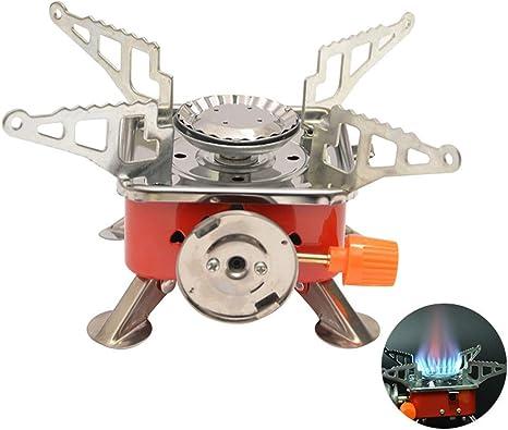 Mallalah - Hornillo de camping a gas, mini hornillo portátil, quemador con metal, 4000 W, plegable, cortavientos de camping, para senderismo, picnic, ...