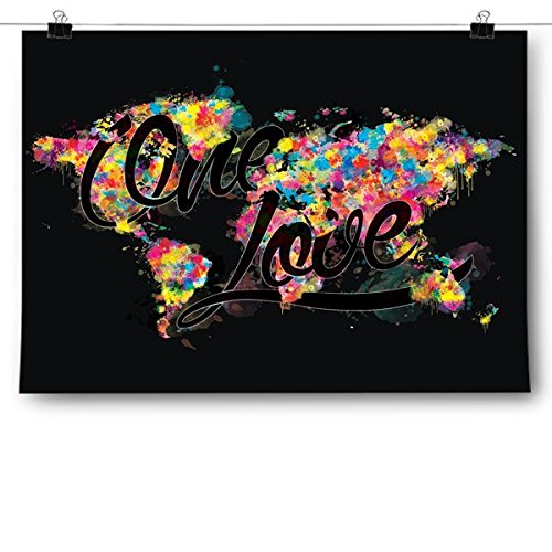 Inspired Posters One Love World Map Poster