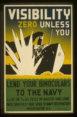 Infinite Photographs Photo: World War II, WWII, Binoculars, Naval Warfare, Ship hit by Torpedo, c1942, Zeiss Size: 8x10 ()