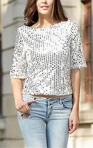 3 Camicetta Bianca Tops Collo di Moda Donna Moda Paillettes Grazioso Magliette Eleganti Unico Tshirt Stlie Rotondo Giovane Estivi Party Manica Festival 4 Moda C0anq