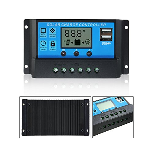 Mohoo 20A Charge Controller Solar Charge Regulator Intelligent USB Port Display 12V-24V