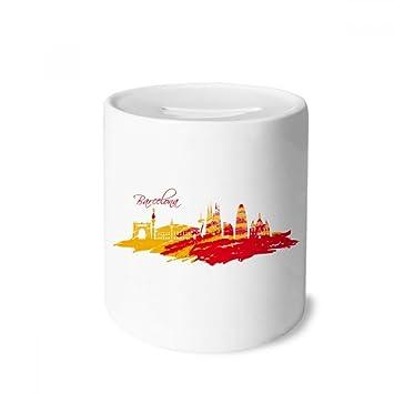 DIYthinker Silueta de la Ciudad de Barcelona Rojo Amarillo Caja de Dinero de Las Cajas de