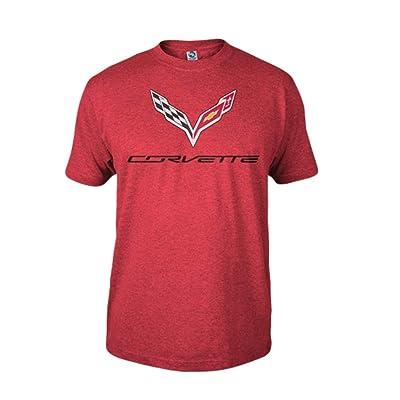 C7 Corvette Logo Flag T-Shirt : Heather Red: Automotive