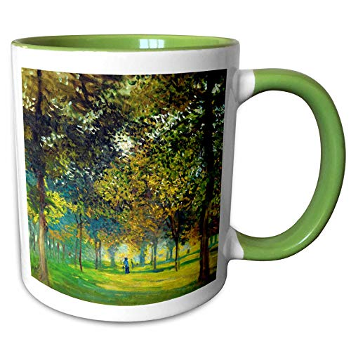3dRose VintageChest - Masterpieces - Claude Monet - The Allee Du Champ De Foire at Argenteuil - 15oz Two-Tone Green Mug (mug_303344_12)