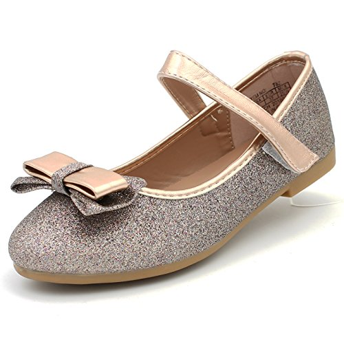 Girls Flat Classic (CAKI-DREAM SEEK Girl's Classic Glitter Dress Shoes Ballerina Flats Bow Cushion Mary Jane Strap (2 M US Little Kids, Bronze))