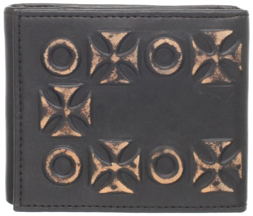 C-Red Men's Distressed Leather Z Fold Wallet With Hidden Cross and Grommet Stud Detail On Cover, Black, 4 1/4 Inch x 3 1/2 (Cross Leather Fold)