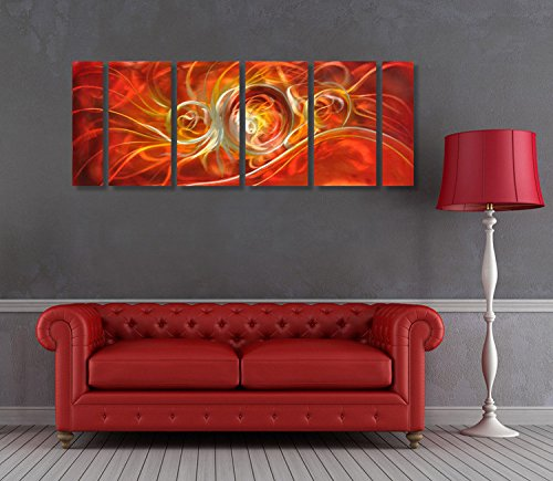 Winpeak Art Original Handcrmade Red Abstract Metal Wall Art Orange Painting Home Decor