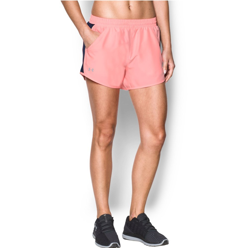 Under Armour womens Fly By Running Shorts, Cape Coral (980)/Reflective, Medium by Under Armour