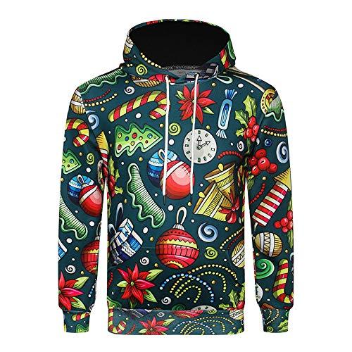 09d9fa20e041 IEason Men Hooded, Men's Autumn Winter 3D Christmas Print Long Sleeve  Hooded Sweatshirt Top