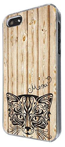 403 - Wooden Background Full Aztec Cat Face Design iphone 5 5S Coque Fashion Trend Case Coque Protection Cover plastique et métal