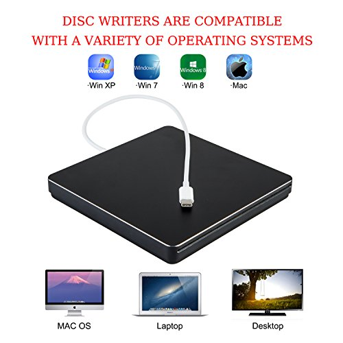 External DVD CD Drive NOLYTH USB C Superdrive DVD/CD +/-RW ROM Player Burner Writer Drive for Apple/Mac/MacBook Pro Air/Laptop/Windows10(Silver) by NOLYTH (Image #4)