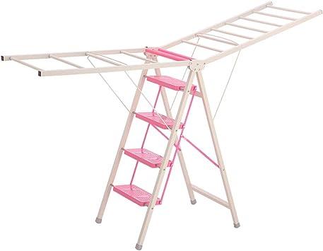 QFF Balcón Tendedero, La escalera de doble uso al aire libre de cuatro pasos de escalera Toallas/mantas/edredones Tendedero azul, rosa, amarillo doblez (Color : Pink, Size : 50 * 85.5 * 140.5cm):