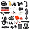 Erligpowht GoPro Accessories Outdoor Sports Bundle Kit for GoPro Hero 4/3+/3/2/1 Cameras and sj4000/sj5000 cameras in Parachuting Swimming Rowing Surfing Skiing Climbing Running Bike Riding Camping Diving Outing Any Other Outdoor Sports.Chest/Head Mount S