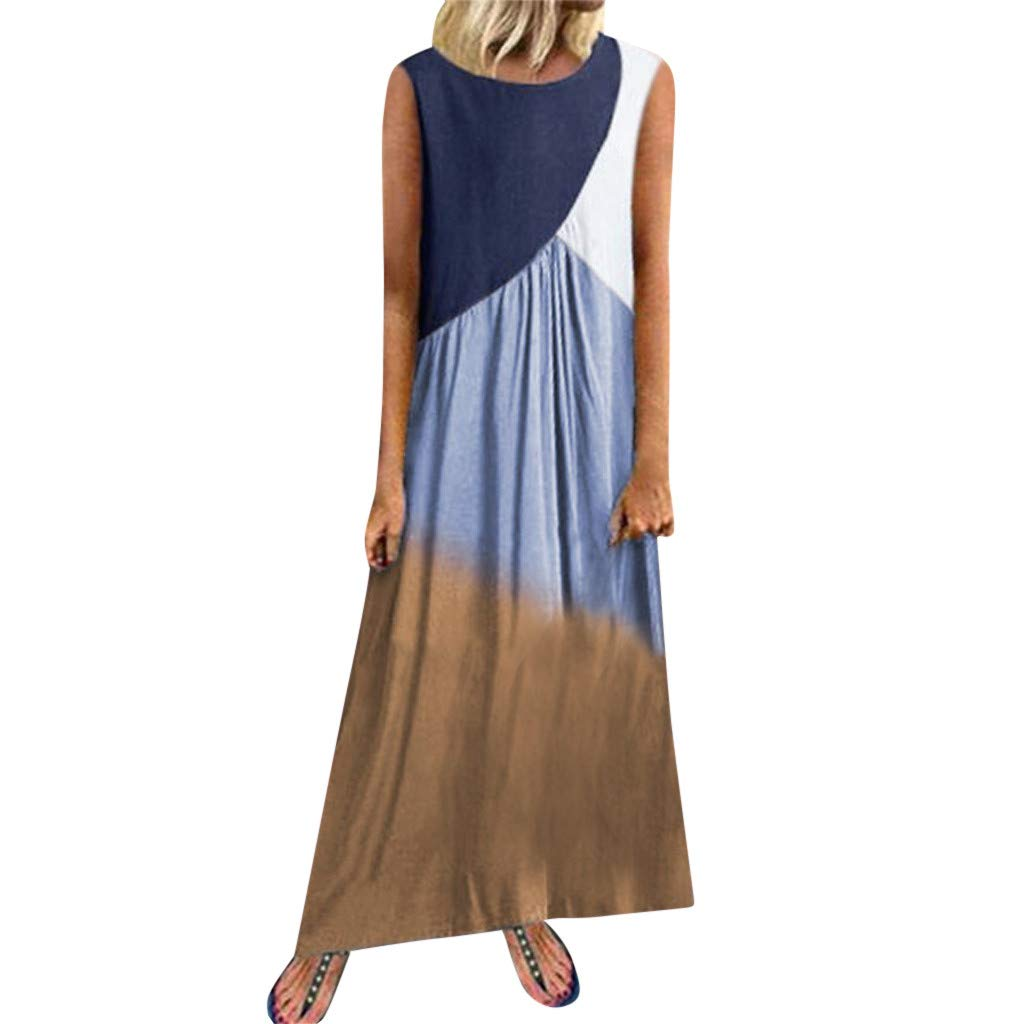 WatFY Dress Women Sundress Fashion Gradient Ball Gown Sleeveless Round Neck Skirt Long Maxi Robe Patchwork Dresses (Blue, XL) by WatFY
