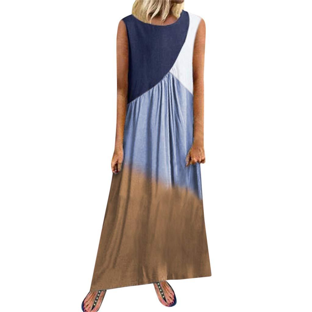 WatFY Dress Women Sundress Fashion Gradient Ball Gown Sleeveless Round Neck Skirt Long Maxi Robe Patchwork Dresses (Blue, XL) by WatFY