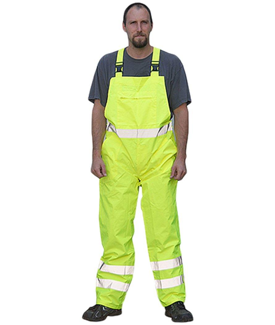 Majestic Glove 75-2353/L Bib Rain Pants, Pu Coated, High-Vis, Class E, Large, Yellow