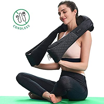 LiBa Cordless Shiatsu Neck Shoulder Back Massager Belt with Heat - Rechargeable Use for 2 Hours Unplugged, Portable Full Body Massage Relieving Pain Sore Muscles