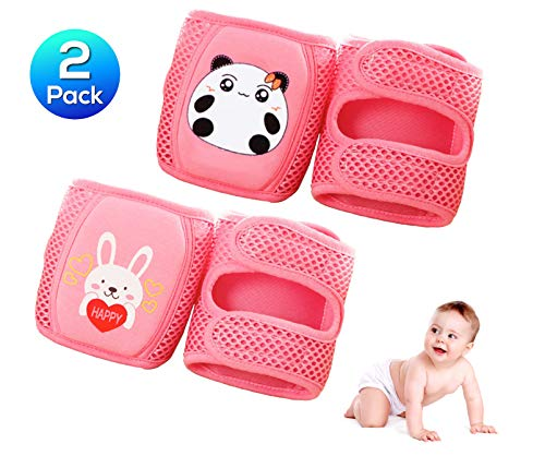 KITTENSOLA Baby Knee Pads for Crawling (2 or 3 or 4 Pairs) Comfortable 3D Mesh Design Elbow Leg Pads Anti-Slip Adjustable for Infant Toddlers Girls and Boys (Unisex) (Pink)