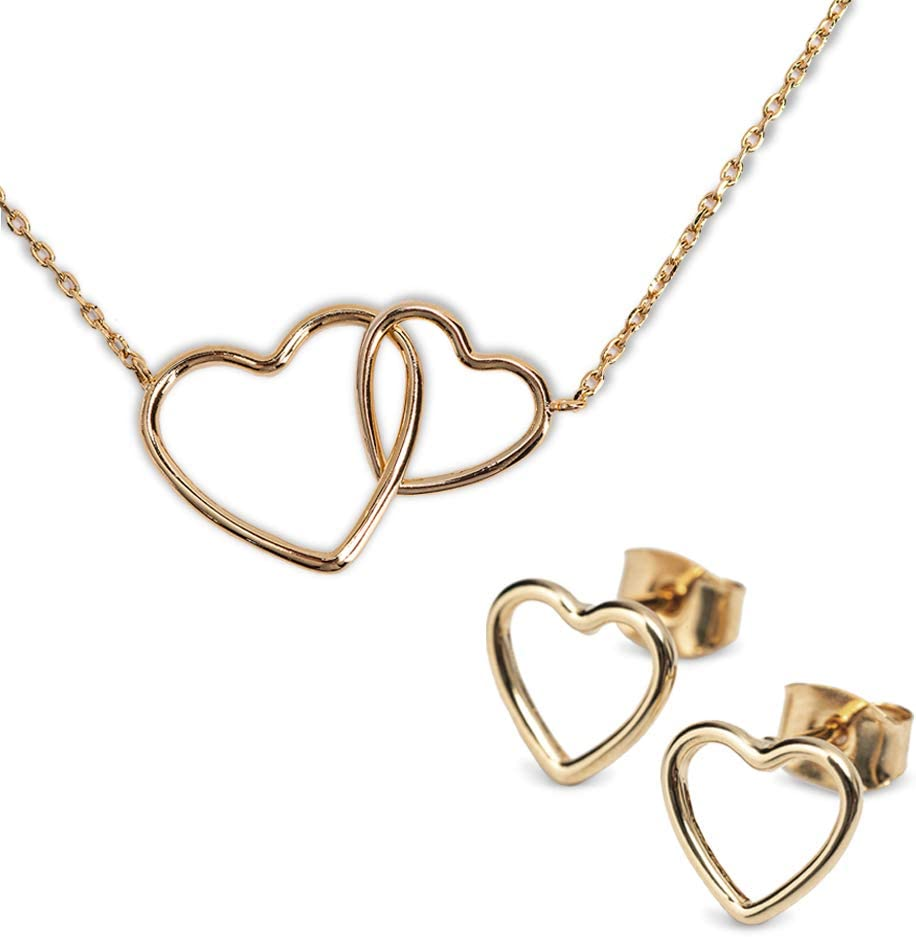Nuevo Cristal Oro Brillo Corazón Collar Regalo Varios Colores Gran