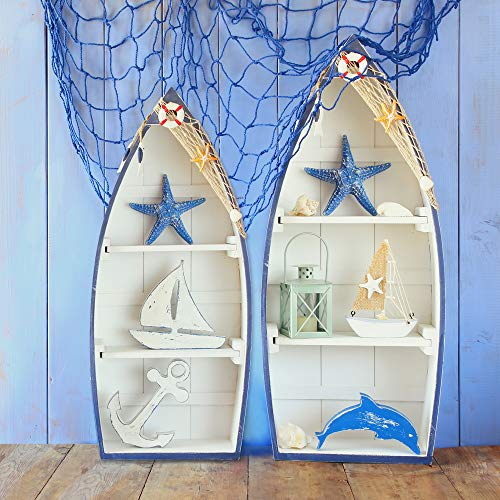 Royal Brands Set of 2 Beach Theme Display Boats with 2 Shelves with Nautical Fish Net and Starfish/Shell Set of 2 Shelves