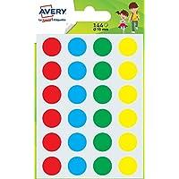 Avery Sachet de 144 Pastilles - Ø15mm - 4 Couleurs (Vert, Rouge, Jaune, Bleu) /Couleurs assorties (PASMX15)