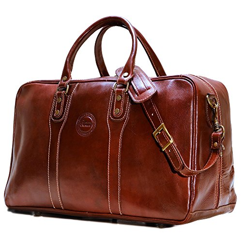 Cenzo Trunk Duffle Vecchio Brown Italian Leather Weekender Travel (Italian Leather Duffle)