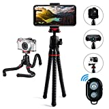 Phone Tripod LINKCOOL 360 Degree Rotation Foldable Flexible Octopus Tripod with Wireless Remote Shutter for Camera and iPhone Samsung Other Smartphone Sports Camera (New Vision) (Black)
