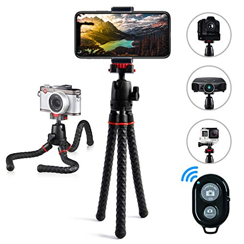 Phone Tripod LINKCOOL 360 Degree Rotation Foldable Flexible Octopus Tripod with Wireless Remote Shutter for Camera and iPhone Samsung Other Smartphone Sports Camera (New Vision) (Black) (Tripod Samsung Galaxy Camera)