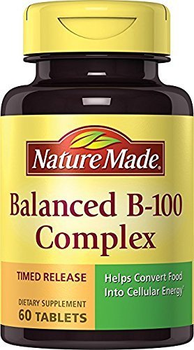Nature Made Balanced B-100 Timed Release (Thiamin, Riboflavin, Niacin, B6, B12, Biotin, Pantothenic Acid & Folic Acid) Tablets 60 Ct - Folic Acid Niacin